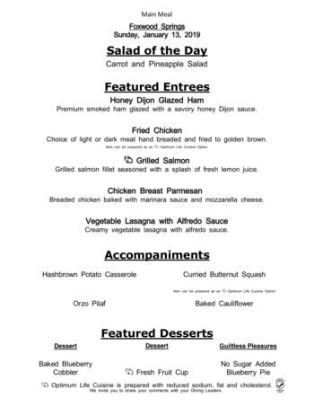 Dining menu of Brookdale Foxwood Springs, Assisted Living, Nursing Home, Independent Living, CCRC, Raymore, MO 8