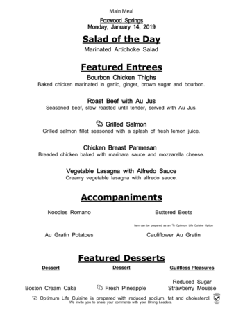 Dining menu of Brookdale Foxwood Springs, Assisted Living, Nursing Home, Independent Living, CCRC, Raymore, MO 9