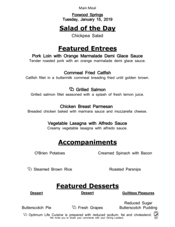 Dining menu of Brookdale Foxwood Springs, Assisted Living, Nursing Home, Independent Living, CCRC, Raymore, MO 10