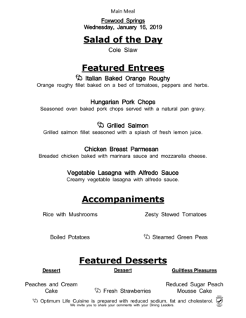Dining menu of Brookdale Foxwood Springs, Assisted Living, Nursing Home, Independent Living, CCRC, Raymore, MO 11