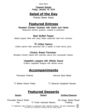 Dining menu of Brookdale Foxwood Springs, Assisted Living, Nursing Home, Independent Living, CCRC, Raymore, MO 13