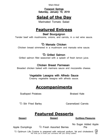 Dining menu of Brookdale Foxwood Springs, Assisted Living, Nursing Home, Independent Living, CCRC, Raymore, MO 14
