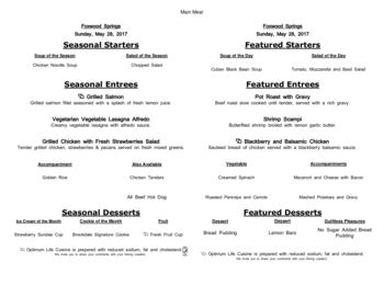Dining menu of Brookdale Foxwood Springs, Assisted Living, Nursing Home, Independent Living, CCRC, Raymore, MO 15