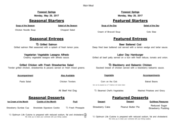 Dining menu of Brookdale Foxwood Springs, Assisted Living, Nursing Home, Independent Living, CCRC, Raymore, MO 16
