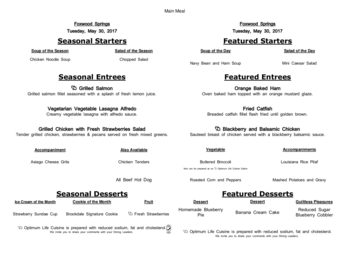 Dining menu of Brookdale Foxwood Springs, Assisted Living, Nursing Home, Independent Living, CCRC, Raymore, MO 17