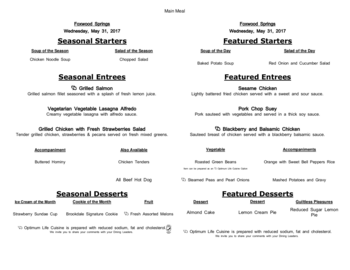 Dining menu of Brookdale Foxwood Springs, Assisted Living, Nursing Home, Independent Living, CCRC, Raymore, MO 18