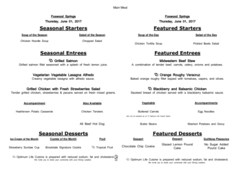 Dining menu of Brookdale Foxwood Springs, Assisted Living, Nursing Home, Independent Living, CCRC, Raymore, MO 19