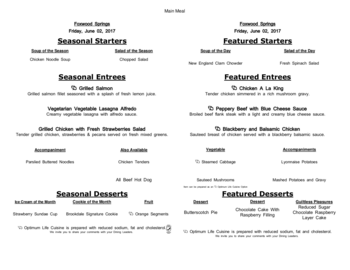 Dining menu of Brookdale Foxwood Springs, Assisted Living, Nursing Home, Independent Living, CCRC, Raymore, MO 20