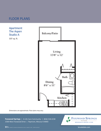 Floorplan of Brookdale Foxwood Springs, Assisted Living, Nursing Home, Independent Living, CCRC, Raymore, MO 1
