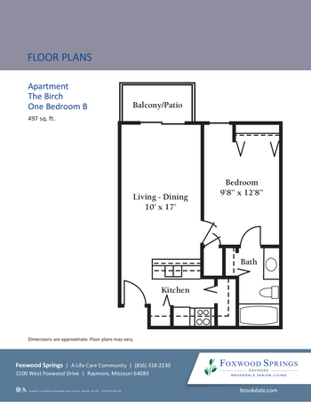 Floorplan of Brookdale Foxwood Springs, Assisted Living, Nursing Home, Independent Living, CCRC, Raymore, MO 2