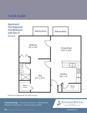 Floorplan of Brookdale Foxwood Springs, Assisted Living, Nursing Home, Independent Living, CCRC, Raymore, MO 4
