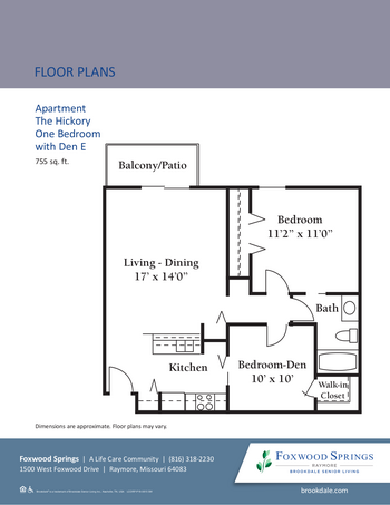 Floorplan of Brookdale Foxwood Springs, Assisted Living, Nursing Home, Independent Living, CCRC, Raymore, MO 5