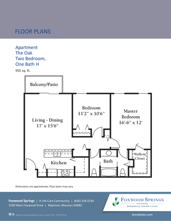 Floorplan of Brookdale Foxwood Springs, Assisted Living, Nursing Home, Independent Living, CCRC, Raymore, MO 6