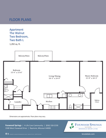 Floorplan of Brookdale Foxwood Springs, Assisted Living, Nursing Home, Independent Living, CCRC, Raymore, MO 7