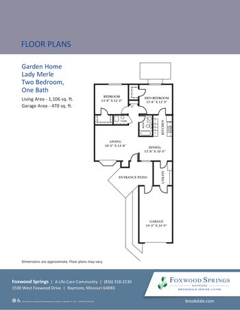 Floorplan of Brookdale Foxwood Springs, Assisted Living, Nursing Home, Independent Living, CCRC, Raymore, MO 8