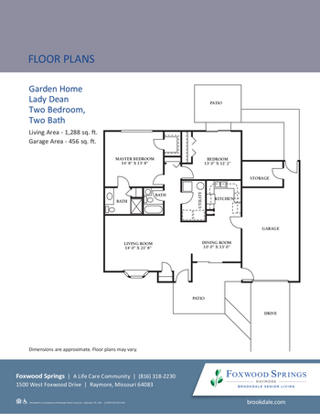 Floorplan of Brookdale Foxwood Springs, Assisted Living, Nursing Home, Independent Living, CCRC, Raymore, MO 9