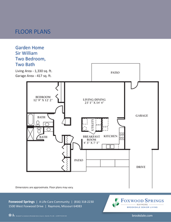 Floorplan of Brookdale Foxwood Springs, Assisted Living, Nursing Home, Independent Living, CCRC, Raymore, MO 10