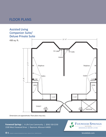 Floorplan of Brookdale Foxwood Springs, Assisted Living, Nursing Home, Independent Living, CCRC, Raymore, MO 11