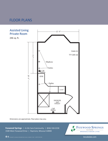 Floorplan of Brookdale Foxwood Springs, Assisted Living, Nursing Home, Independent Living, CCRC, Raymore, MO 12
