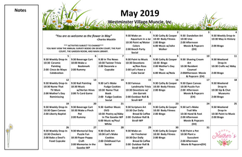 Activity Calendar of Westminster Village Muncie, Assisted Living, Nursing Home, Independent Living, CCRC, Muncie, IN 2
