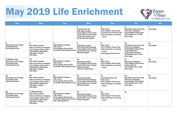 Activity Calendar of Baptist Village of Oklahoma City, Assisted Living, Nursing Home, Independent Living, CCRC, Oklahoma City, OK 1