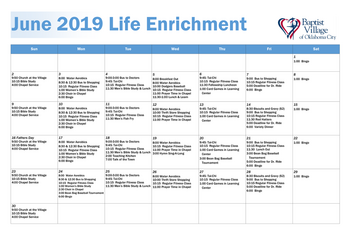 Activity Calendar of Baptist Village of Oklahoma City, Assisted Living, Nursing Home, Independent Living, CCRC, Oklahoma City, OK 2