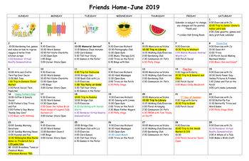 Activity Calendar of Friends Home in Kennett, Assisted Living, Nursing Home, Independent Living, Kennett Square, PA 1