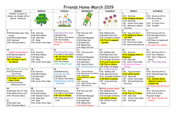 Activity Calendar of Friends Home in Kennett, Assisted Living, Nursing Home, Independent Living, Kennett Square, PA 2