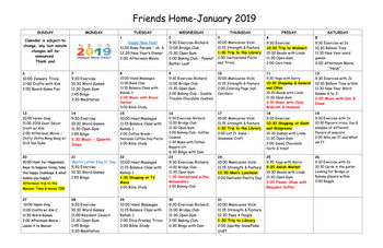 Activity Calendar of Friends Home in Kennett, Assisted Living, Nursing Home, Independent Living, Kennett Square, PA 4