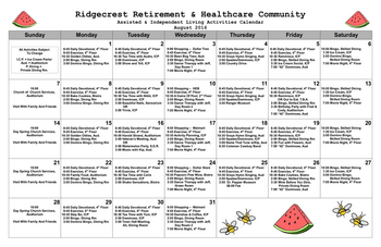 Activity Calendar of Ridgecrest, Assisted Living, Nursing Home, Independent Living, CCRC, Waco, TX 1