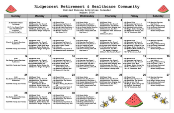 Activity Calendar of Ridgecrest, Assisted Living, Nursing Home, Independent Living, CCRC, Waco, TX 2