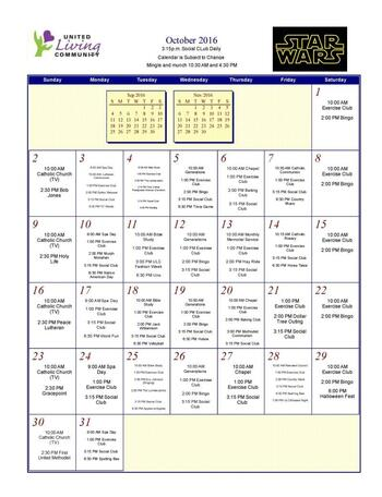 Activity Calendar of United Living Community, Assisted Living, Nursing Home, Independent Living, CCRC, Brookings, SD 1