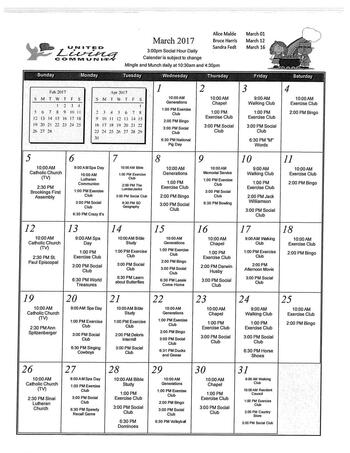 Activity Calendar of United Living Community, Assisted Living, Nursing Home, Independent Living, CCRC, Brookings, SD 2
