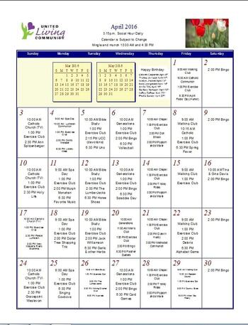 Activity Calendar of United Living Community, Assisted Living, Nursing Home, Independent Living, CCRC, Brookings, SD 4