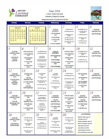 Activity Calendar of United Living Community, Assisted Living, Nursing Home, Independent Living, CCRC, Brookings, SD 9