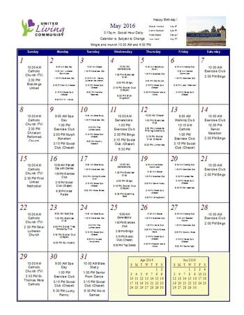 Activity Calendar of United Living Community, Assisted Living, Nursing Home, Independent Living, CCRC, Brookings, SD 10