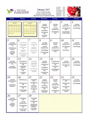 Activity Calendar of United Living Community, Assisted Living, Nursing Home, Independent Living, CCRC, Brookings, SD 5