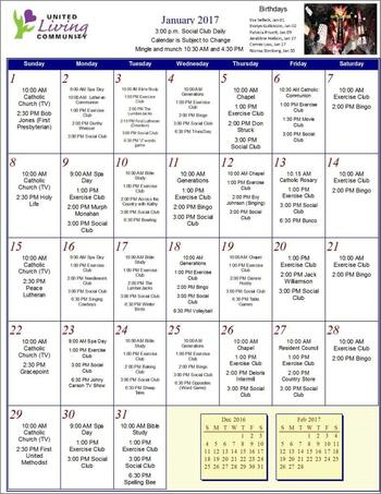 Activity Calendar of United Living Community, Assisted Living, Nursing Home, Independent Living, CCRC, Brookings, SD 8