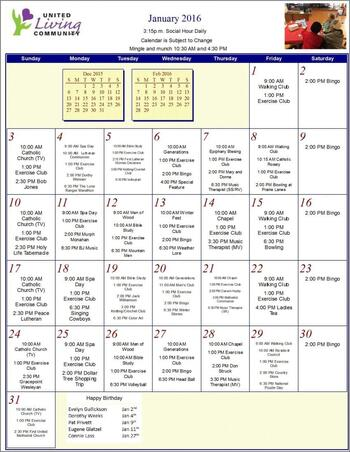 Activity Calendar of United Living Community, Assisted Living, Nursing Home, Independent Living, CCRC, Brookings, SD 7