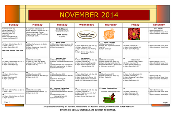 Activity Calendar of Heritage Corner, Assisted Living, Nursing Home, Independent Living, CCRC, Bowling Green, OH 2