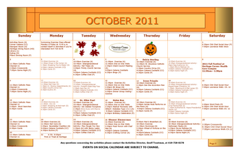 Activity Calendar of Heritage Corner, Assisted Living, Nursing Home, Independent Living, CCRC, Bowling Green, OH 5