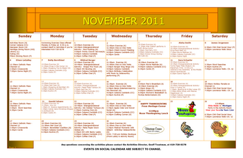 Activity Calendar of Heritage Corner, Assisted Living, Nursing Home, Independent Living, CCRC, Bowling Green, OH 6