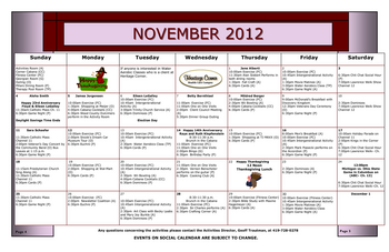 Activity Calendar of Heritage Corner, Assisted Living, Nursing Home, Independent Living, CCRC, Bowling Green, OH 7