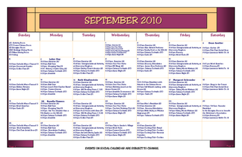 Activity Calendar of Heritage Corner, Assisted Living, Nursing Home, Independent Living, CCRC, Bowling Green, OH 9