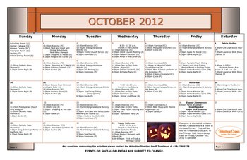 Activity Calendar of Heritage Corner, Assisted Living, Nursing Home, Independent Living, CCRC, Bowling Green, OH 10