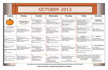 Activity Calendar of Heritage Corner, Assisted Living, Nursing Home, Independent Living, CCRC, Bowling Green, OH 11