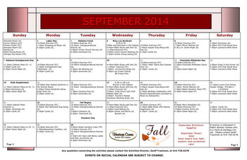 Activity Calendar of Heritage Corner, Assisted Living, Nursing Home, Independent Living, CCRC, Bowling Green, OH 12