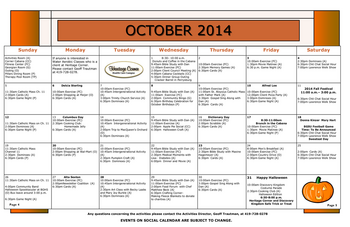 Activity Calendar of Heritage Corner, Assisted Living, Nursing Home, Independent Living, CCRC, Bowling Green, OH 13