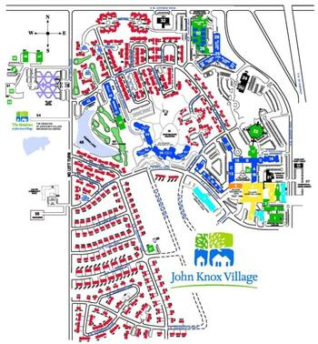 Campus Map of John Knox Village, Assisted Living, Nursing Home, Independent Living, CCRC, Lees Summit, MO 3