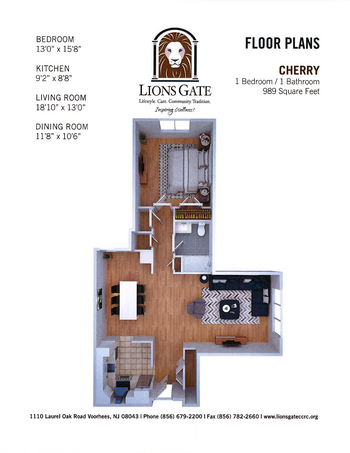 Floorplan of Lions Gate, Assisted Living, Nursing Home, Independent Living, CCRC, Voorhees, NJ 3